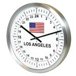 Click here to view 24hr Timezone Flag Modern Classic Clock Brushed