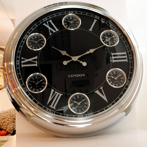 Modern Vintage Three Six Time Zone World Wall Clock Black