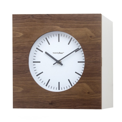 Balvi Qubo Wall Clock and Cabinet Walnut