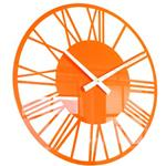 Orange Acrylic Gloss Skeleton Roman Wall Clock