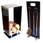 Deco Log Holder & Fireside Tools Glass Metal