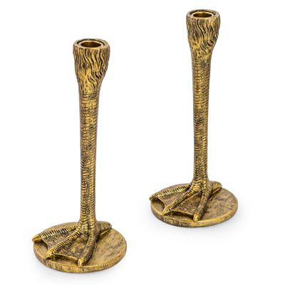 Antique Gold Bird Leg Candlesticks Set of 2