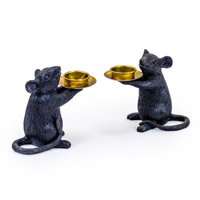 Mouse Candle Holders Set of 2 Black