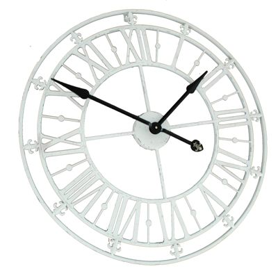 Cream White Iron Skeleton Wall Clock