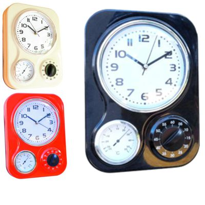 Retro Kitchen Clock With Thermometer And Timer