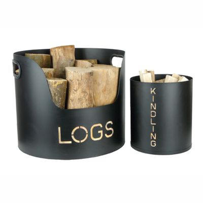 Modern Log and Kindling Holder Tubs Black