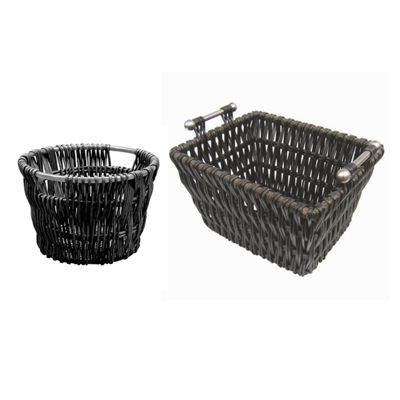 Modern Round and Rectangle Black Log Baskets