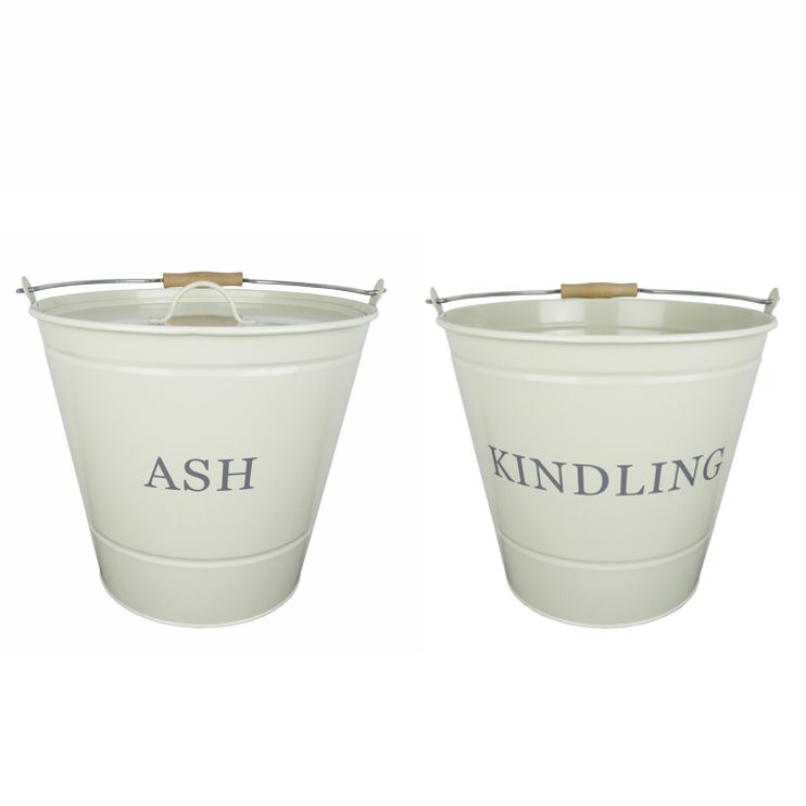 Cream Ash and Kindling Fireside Buckets