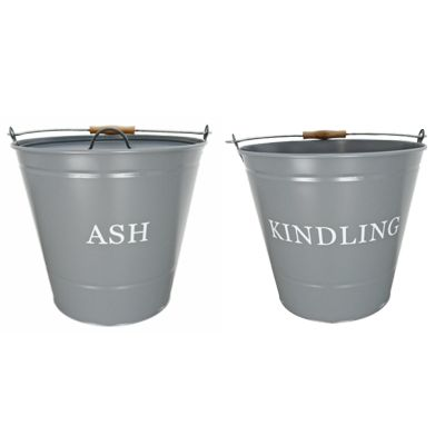 Grey Ash and Kindling Fireside Buckets