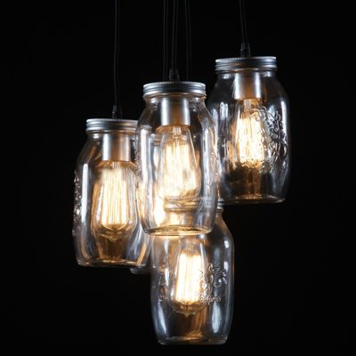Vintage Five Big Jam Jar Silver Chandelier Light