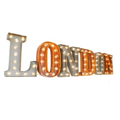 London Illuminated Carnival Vintage Word Lights