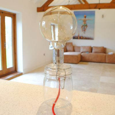 Jam Jar Table Light inc Edison Bulb