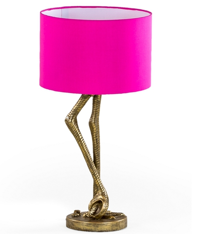 Antique Gold Flamingo Leg Table Lamp Pink Shade