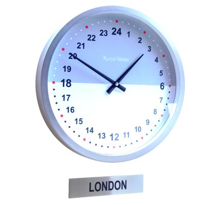 Custom Office 24hr Timezone Wall Clock with Sign