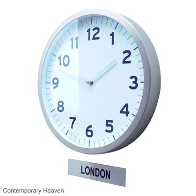 Custom Modern Office Timezone Wall Clock with Sign