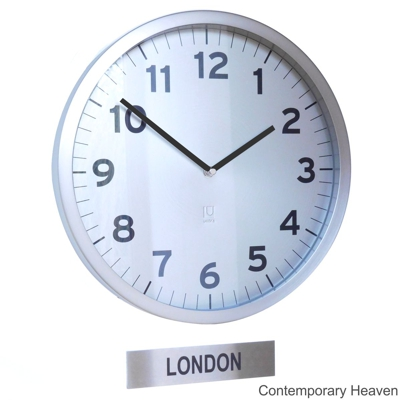 Custom Office Timezone Wall Clock with Sign Silver