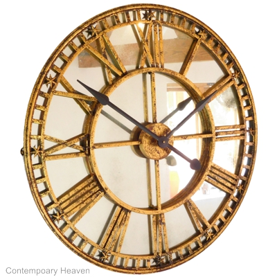 Antiqued Gold Mirror Iron Roman Skeleton Wall Clock