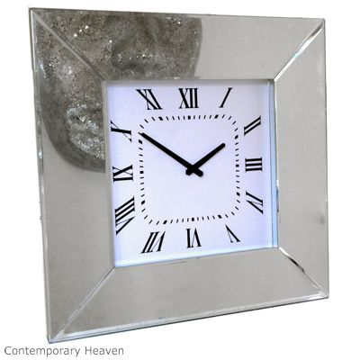 Bevelled Mirror Classic Square Wall Clock
