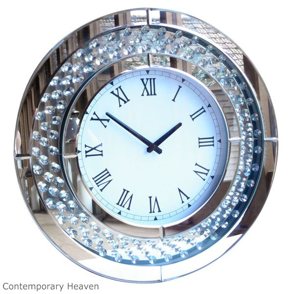 Bevelled Mirror Jewel Crystal Round Wall Clock