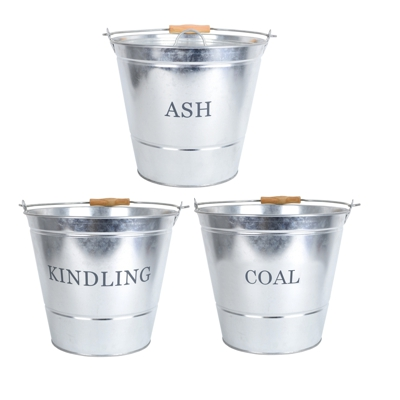Galvanised Ash, Kindling and Coal Fireside Buckets