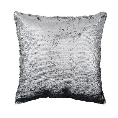 Sequins Decorative Cushion Silver and Black