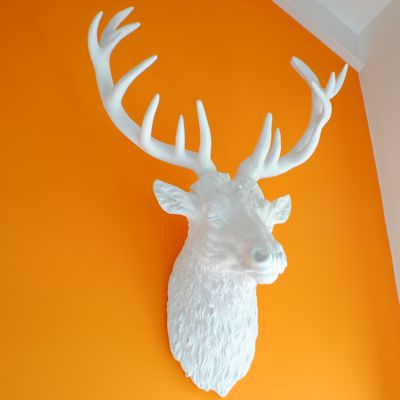 Modern White Stag Wall trophy Head Large