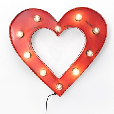 Kare Red Retro Heart Illuminated Wall Decor