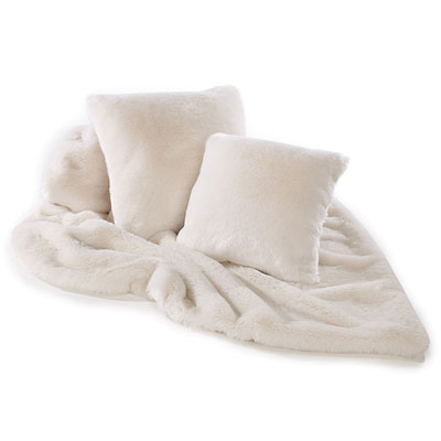 Katrina Hampton Cream Plush Faux Fur Cushion