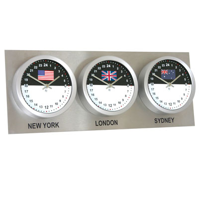 Roco Verre Custom World 3 7 Flag Clocks Steel