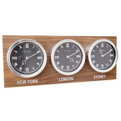 Custom Time Zone World Roman Clocks Walnut Back