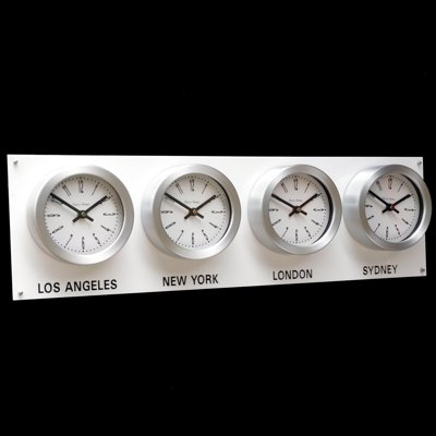 Gloss White Backboard Everyday Timezone Clock