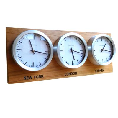 Roco Verre Custom Time Zone 3 Dial Clocks Oak