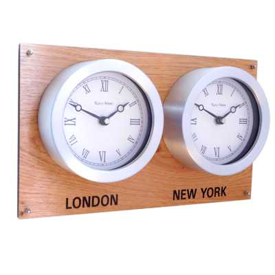 Roco Verre Everyday Oak Backboard Timezone Clock