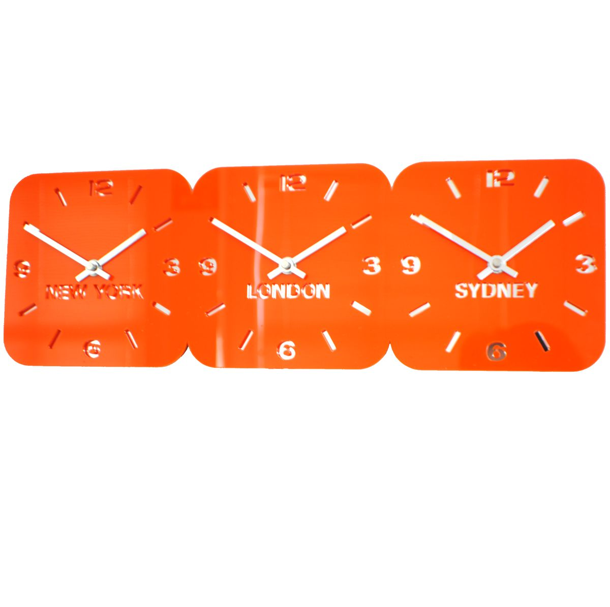 Roco Verre Orange Acrylic Time Zone Wall Clock