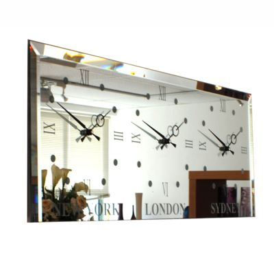 Vintage Bevelled Mirror Timezone Wall Clock