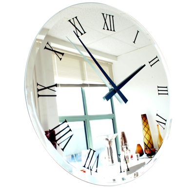Roco Verre Bevelled Coloured Roman Mirror Clock
