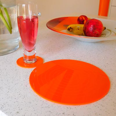 Orange Gloss Circlets Coasters and Placemats
