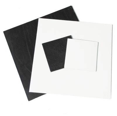 White and Black Square Real Leather Coasters
