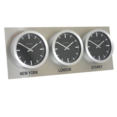 Roco Verre Custom Time Zone 3 10 Clocks Steel
