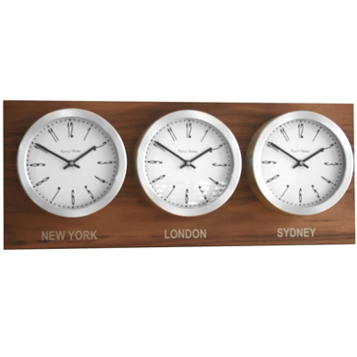 Roco Verre Custom Time Zone 3 10 Clocks Walnut