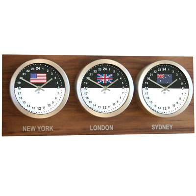 Roco Verre Custom World 3 7 Flag Clocks Walnut