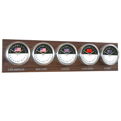 Roco Verre Custom World 5 7 Flag Clocks Walnut