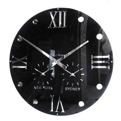 Gloss Black Round Retro Roman Timezone Wall Clock