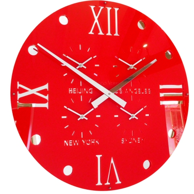 Gloss Red Round Retro Roman Timezone Wall Clock