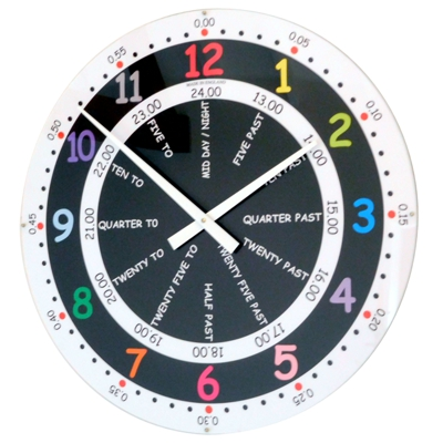 Roco Verre Large Teaching Time School Wall Clock