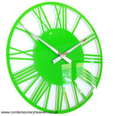Gloss Lime Green Acrylic.Skeleton Roman Wall Clock