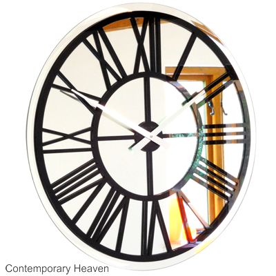 Roco Verre Bevelled Mirror Skeleton Wall-Clock