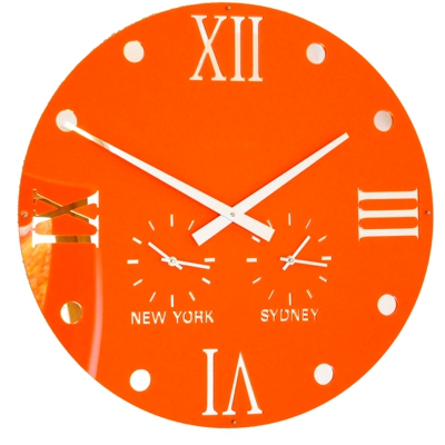 Gloss Orange Round Retro Roman Timezone Wall Clock