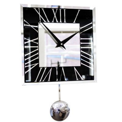 Roco Verre Deco Black Mirror Pendulum Wall Clock