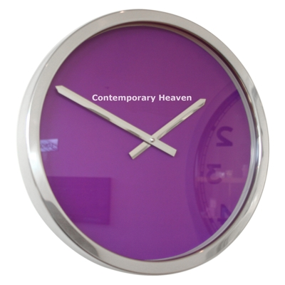 Roco Verre Purple Block Colour Clock